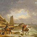 A Coastal Landscape Of The Isle Of Wight With Figures On Horse Back Near A Cottage by George Morland