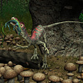 A Compsognathus Prepares To Swallow by Walter Myers