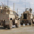 A Convoy Of Mrap Vehicles Near Camp by Stocktrek Images