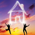 A Couple Jump And Make A House Symbol Of Light by Michal Bednarek