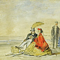 A Couple Seated And A Couple Walking On The Beach by Eugene Boudin