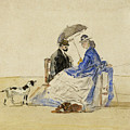 A Couple Seated On The Beach With Two Dogs by Eugene Boudin