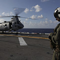 A Crew Chief Watches A Ch-46e Sea by Stocktrek Images