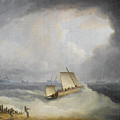 A Deal Lugger Going Off To Storm Bound Ships In The Downs by Thomas Buttersworth