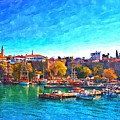 A Digitally Constructed Painting Of Kaleici Harbour In Antalya Turkey by Ken Biggs