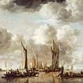 A Dutch Yacht Firing A Salute As A Barge Pulls Away by Jan van de Capelle
