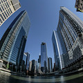 A Fisheye View Of The Chicago Skyline As You Appraoch Wolf Point by Sven Brogren