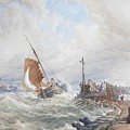 A Fishing Smack Entering Harbour by Thomas Sewell