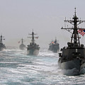 A Fleet Of Ships In Formation At Sea by Stocktrek Images