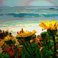 A Flowery View Of The Surf Watercolor by Joyce Dickens