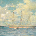 A French Barque In Falmouth Bay by Henry Scott Tuke