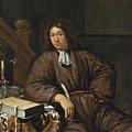 A Gentleman At His Desk by Michiel van Musscher