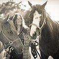 A Girl And Horses In The Sun Sepia by Kelly Hazel