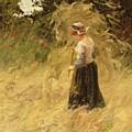 A Girl Harvesting Hay by Eugene Leon Labitte