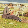 A Girl Knitting by Giovanni Segantini