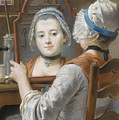 A Girl Wearing A Bonnet by French School