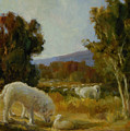 A Great Pyrenees With A Lamb by Lilli Pell