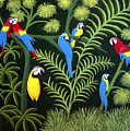 A Group Of Macaws by Frederic Kohli