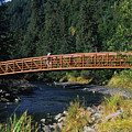 A Hiker Crosses A Bridge by Stacy Gold