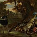 A Huntsman Cutting Up A Dead Deer, With Two Deerhounds by Jan Weenix