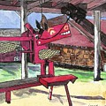 A I Farm Apple Squeeze Dragon by J M Starz