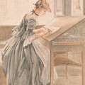 A Lady Copying At A Drawing Table by Paul Sandby