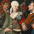 A Lady Holding A Swaddled Cat A Man With A Pan Of Porridge Another Playing With Fire Irons And Two O by Circle of Bartolomeo Passerotti