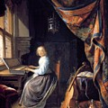 A Lady Playing The Clavichord by Dou Gerrit