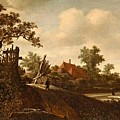 A Landscape With A Figure On A Path And A Bleaching by Roelof Jansz