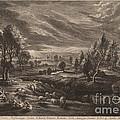 A Landscape With A Village by Schelte Adams Bolswert After Sir Peter Paul Rubens