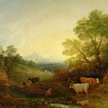 A Landscape With Cattle And Figures By A Stream And A Distant Bridge by Thomas Gainsborough