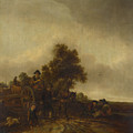 A Landscape With Peasants And A Cart by PixBreak Art