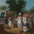 A Linen Market With A Linen-stall And Vegetable Seller In The West Indies by Agostino Brunias