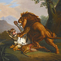 A Lion And Tiger In Combat by Johann Wenzel Peter