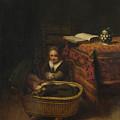 A Little Girl Rocking A Cradle by PixBreak Art