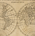 A Map Of The World With The Voyage Of Robinson Crusoe by English School