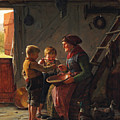 A Meal. Two Boys And A Grandmother Tasting The Potato Soup by Carl Heinrich Bloch