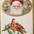 A Merry Christmas From Santa Claus Vintage Greeting Card With Robins by R Muirhead Art