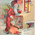 A Merry Christmas Vintage Greetings From Santa Claus And His Gifts by R Muirhead Art