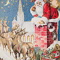 A Merry Christmas Vintage Greetings From Santa Claus And His Raindeer by R Muirhead Art