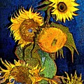 A Modern Look At Vincent's Vase With 5 Sunflowers by Jose A Gonzalez Jr