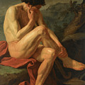 A Naked Man Sitting In A Landscape by Jean-Joseph Taillasson