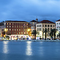 A Night View Of Split Old Town Waterfront In Croatia by Didier Marti