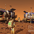 A Pair Of Manned Mars Rovers Rendezvous by Walter Myers