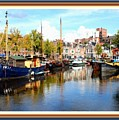 A Peaceful Canal Scene - The Netherlands L A S With Decorative Ornate Printed Frame. by Gert J Rheeders
