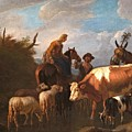 A Peasant Couple Amongst Their Cattle And Sheep by MotionAge Designs