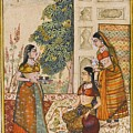A Princess With Her Maidservants On A Terrace by Ustad Rashid