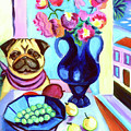 A Pug's Dinner At Henri's - Pug by Lyn Cook