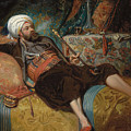 A Reclining Turk Smoking A Hookah, 1844 by Henri Baron
