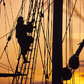 A Reenactors Climbs Up A Reconstructed by Richard Nowitz